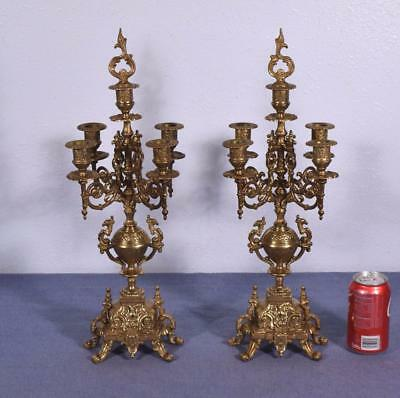 "*20"" Tall Pair of Vintage French Bronze Candelabra Candlesticks"