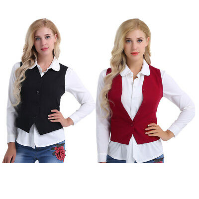 Women Vest Office Lady Formal Business Waistcoat Fully Lined 4 Buttons Workwear