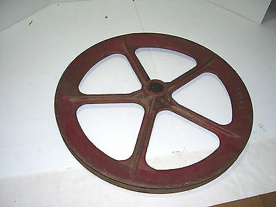 "Vtg Large 18"" Cast Iron Pulley • 5 Spokes • Steampunk Decor Industrial # 27747"