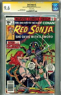 RED SONJA #3 CGC 9.6 SS ROY THOMAS & FRANK THORNE (white pages) NM+Mint rare sig