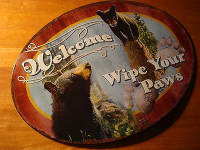 WELCOME WIPE YOUR PAWS Black Bear Mother & Cubs Cabin Wall Sign Home Decor NEW