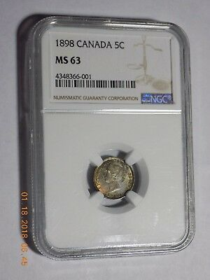 1898 Canada Silver Five Cents - BU - NGC MS63 with Gorgeous Colorful Toning