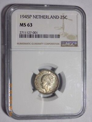 1945-P Netherlands 25 Cents - NGC MS63 - Scarce Coin in This Grade!