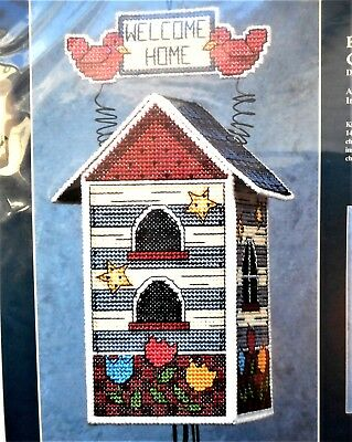 Bird House Floral Wind Chimes Vintage Plastic Canvas Counted Cross Stitch Kit