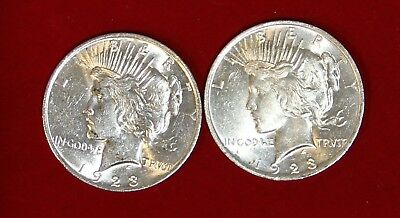 Two (2) Peace Silver Dollars: 1923-P 90% Bullion $ Dinged