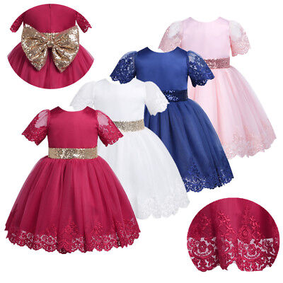 Baby Toddler Girl Princess Dress Floral Pageant Wedding Birthday Party Tutu Bow