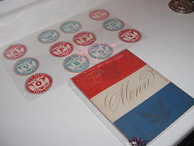 SS UNITED STATES LINES  1953 Dinner Menu  /  (12) Luggage Stickers