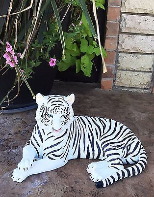 """Large Siberian Ghost White Tiger Resting 15.5"""" Long Statue Home Garden Decor"""