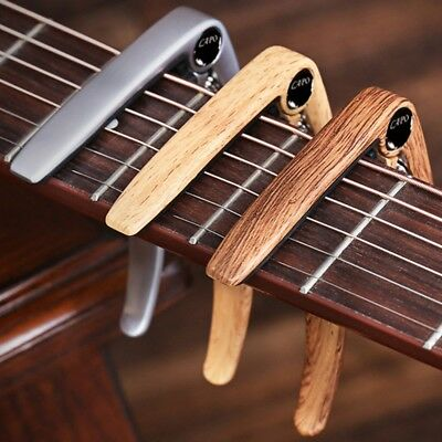 Metal Guitar Ukulele Capo Zinc Alloy Wood Grain Tuning Clip Bridge Pin Remover