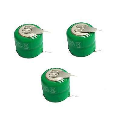 3 pcs 80mAh 2.4V Ni-MH Button Cell Rechargeable Battery w/ Tab Green