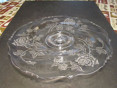 Gorgeous Waverly Heisey ROSE Pattern Etched Crystal Cake Stand