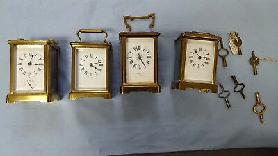 Job Lot Antique French Brass Carriage Clocks And Keys Circa 1899
