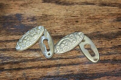 Antique Reclaimed Pair Of Brass Keyhole Escutcheons Floral Design