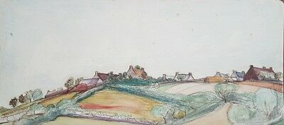 MAISONS EN BRETAGNE - BELLE AQUARELLE FIN 19ème SIECLE - COLLECTION DEBAUVE