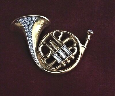 Stunning Vintage Signed Swarovski Crystal Gold Plated French Horn Pin Brooch