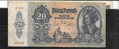 Hungary #109 1941 Vg Used 20 Pengo Banknote Paper Money Currency Bill Note