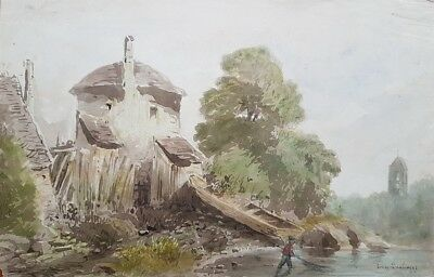 Eugène DESHAYES (1828-1891) AQUARELLE SIGNEE - NORMANDIE - COLLECTION MARTYNE