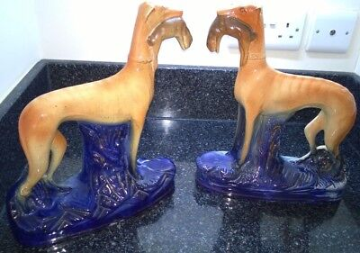 Staffordshire Pair Greyhounds with Rabbit / Hare Figures Cobalt Blue Decorative