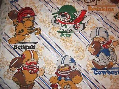 """NFL football Huddles fabric panel 23"""" x 66"""" Cowboys Eagles Lions Jets Dolphins"""