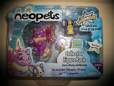 Neopets Collector Figure Pack Series 1 Faerie Wocky Mazzew Petpet Accessories