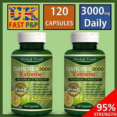 **2 BOTTLES** 3000mg Ultra Pure GARCINIA CAMBOGIA Lose Weight Slimming Pill Fast