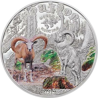 Cook Islands 2015 $ 2 World of Hunting  Mouflon 1/2Oz Silver Proof Coin