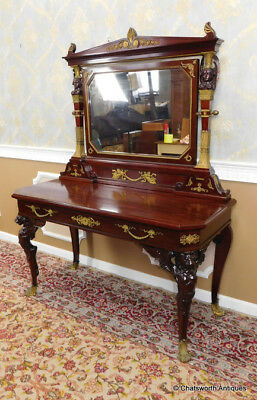 Antique French Empire Mahogany Gilt Bronze Carved Dressing Table w/ Mirror c1840
