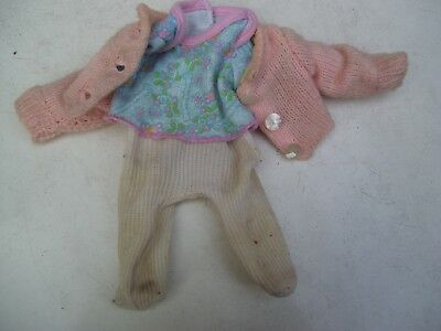 Alte Puppenkleidung Pants Top Jacket Outfit vintage Doll clothes 25 cm Girl