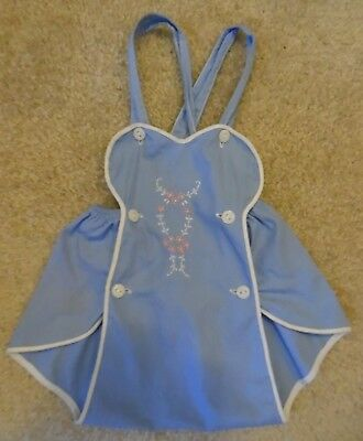 Vintage 1930s Romper  Hand Embroidered 0-3 Mo Handmade Sunsuit 1 Faint Stain