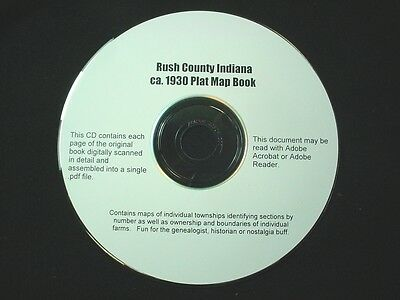 CD ~ 1930's Rush County Indiana Plat Map Book