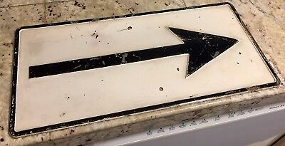 "Original Vintage Industrial Porcelain Arrow Sign 18"" x 9"" Black & White Antique"