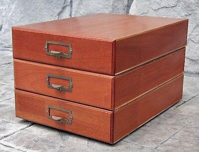 Vintage 3 Stacking NEGA FILE Boxes -Wood - Model A-3500G -35mm Slide Storage (A)