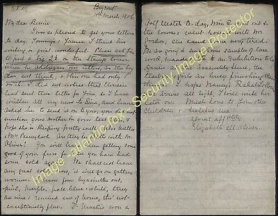 1906 BEYROUT British Syrian Mission, Missionary letter from  Elizabeth M Oliver