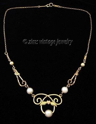 Vintage 1930's ART DECO Gold filled Floral swirl PEARL pendant NECKLACE signed