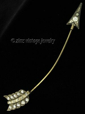 Vintage old ART DECO era Long Brass rhinestone ARROW dart Jabot hat lapel PIN