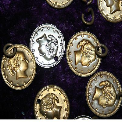 Lot of 13 Little Roman Goddess Head Silver & Gold Colored Metal Charms