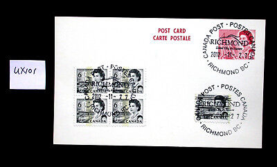 UX101 Postal Stationery ~ 4 Centennial Preprinted Stamp on Post Card ~ Used