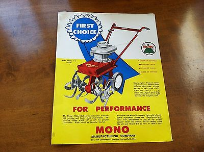 Vintage Mono Performance Tiller Model T-3 Brochure 1960s