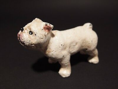Primitive Antique Style Miniature Cast Iron White Bull Dog