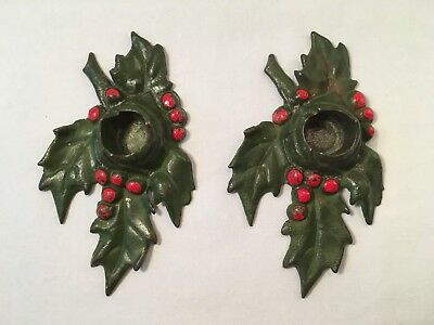 Pair Antique Holly Cast Iron Lula Verhoren Lavell Candle Holders Signed LVL 1921