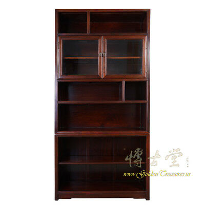 Chinese Antique Rosewood Book Cabinet with Glass Door 16LP87