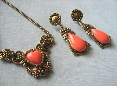 Goldtone & Coral Colored Compo Necklace and Earrings