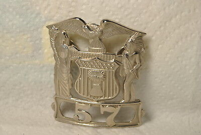 old pin  POLICE hat badge # 57   signed C.H. HANSON CHICAGO
