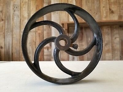 Antique 1800's Cast Iron Flywheel / Pulley Wheel ~ Vintage Industrial Farm Tool