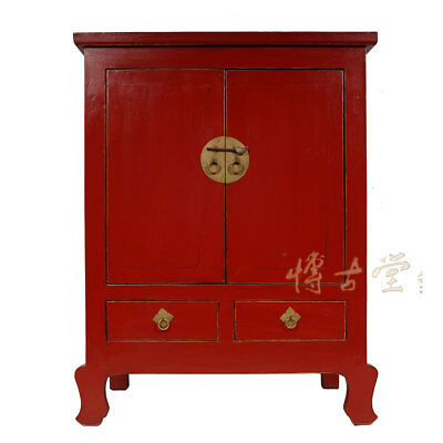Chinese Antique 2 Doors Red Lacquered Cabinet/Chest 28B02