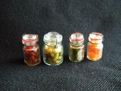 Vintage Dollhouse Doll House Miniature Lot of 4 Glass Jar Vegetable and Fruit
