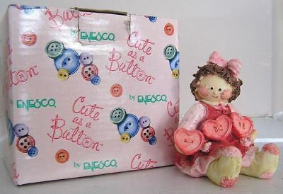 Cute As A Button #629332 Girl With String Of Hearts Figurine 1993 Enesco New Box