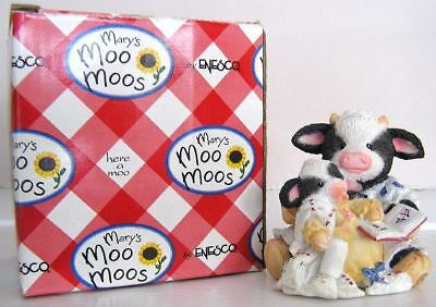Mary's Moo Moos #627763 Pasture Bedtime Cowgirl Reading to Baby Cow Figurine '93