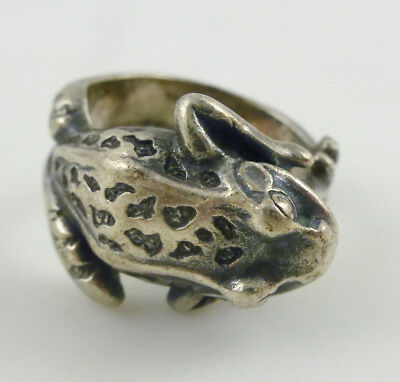 Sterling Silver Hammered Textured Frog Ring Sz 5.75