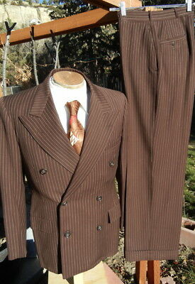 Vintage 1940s Double Breasted Suit 38S 29x29 - Pinstripe Gangster EXCELLENT Cond
